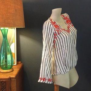 Embroidered Stripe Surplus Top